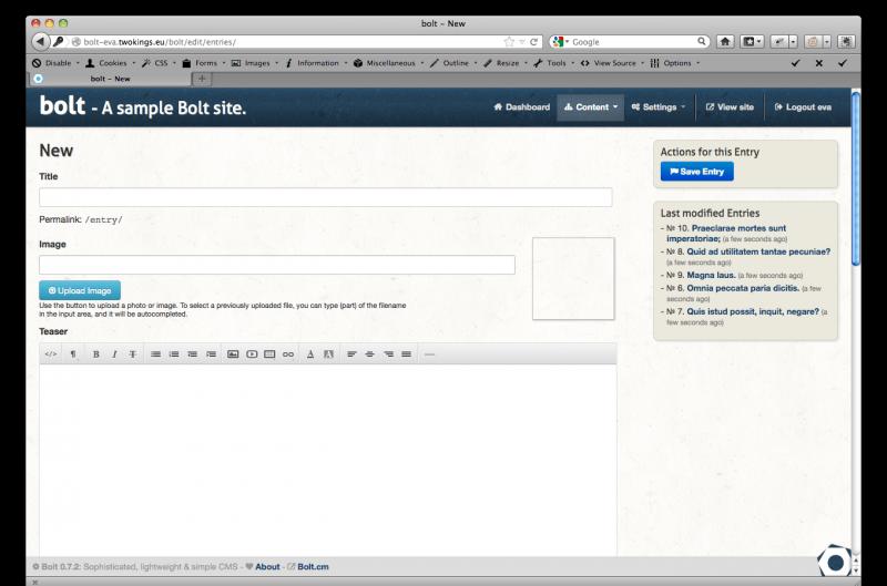 Страница добавления материала в BoltCMS