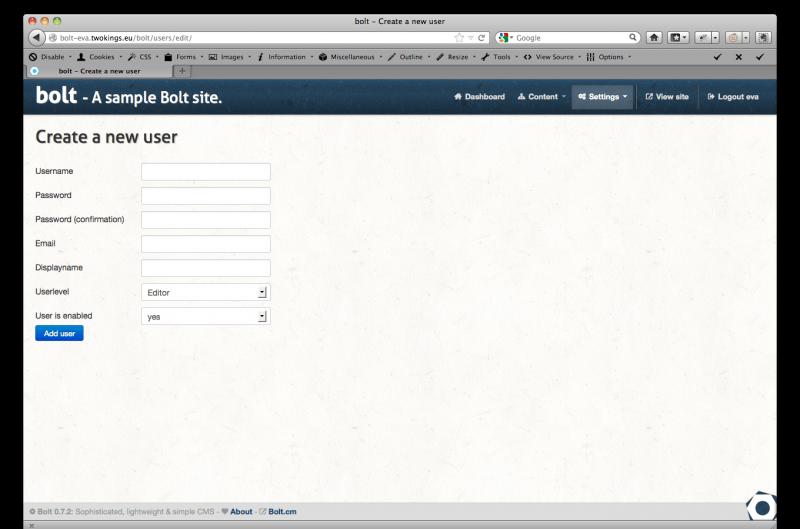 Добавление нового пользователя BoltCMS